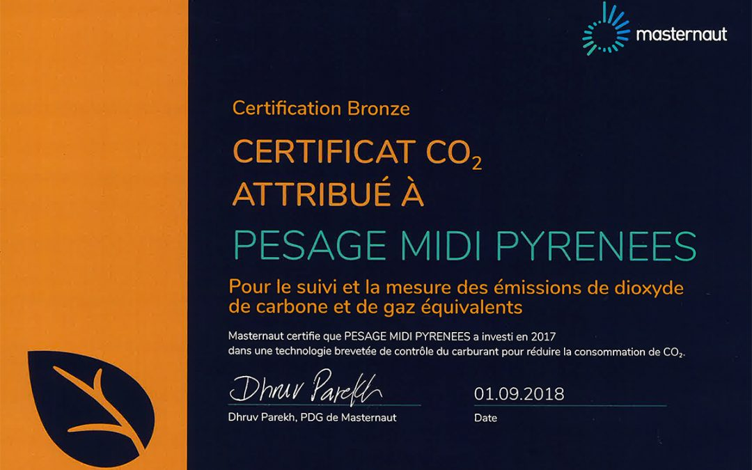 Certificat CO² Masternaut